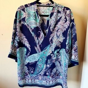 Olive & Clair Blue Green Print Tunic
